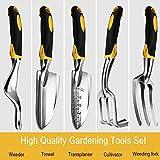 Anpress 5 Piece Gardening Tools Set Including Trowel, Transplanter, Cultivator, Weeder, Weeding Fork, Garden Tools with Heavy Duty Cast-aluminum Heads & Ergonomic Handles
