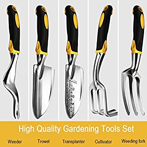 Bestfire 5 Piece Gardening Tools Set Including Trowel, Transplanted, Cultivator, Weedier, Weeding Fork, Garden Tools with Heavy Duty Cast-Aluminium Heads & Ergonomic Handles