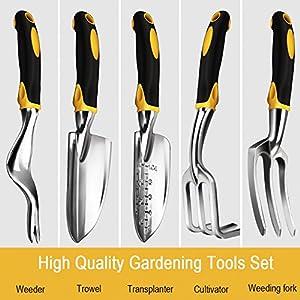 Bestfire 5 Piece Gardening Tools Set Including Trowel, Transplanted, Cultivator, Weedier, Weeding Fork, Garden Tools…
