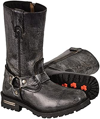 Milwaukee Leather Mens Classic Harness Square Toe Boots MBM9006-BKGRY-7.5 Black//Gray, Size 7.5//11 Size 7.5//11