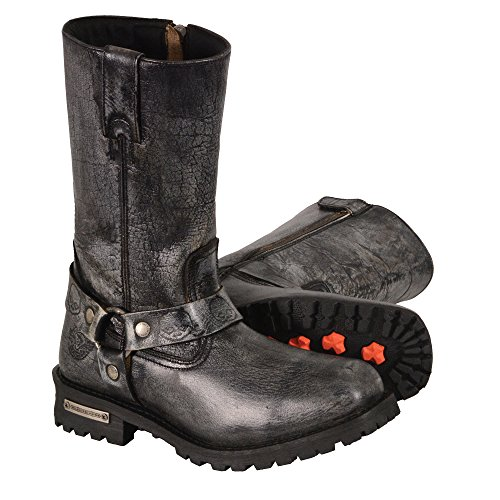 Men's Classic Motorcycle Harness Boot in Distressed Grey Leather (Size 14) -