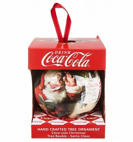 Coca Cola Hand Crafted Christmas Tree Santa Claus Bauble Ball ...
