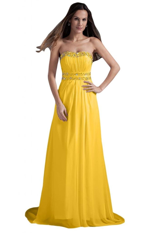 Sunvary Woman Chiffon Strapless Open Back Beads Evening Prom Dresses