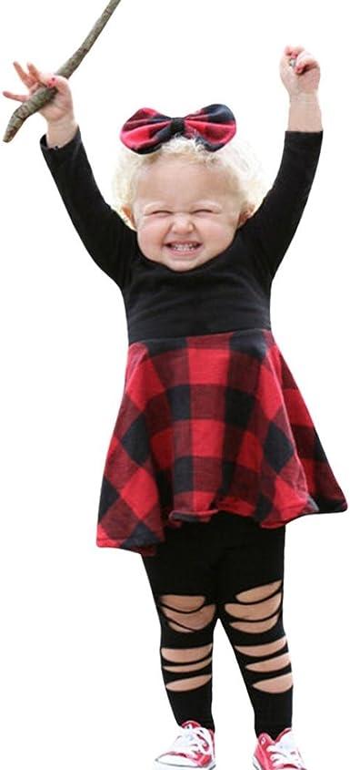 Yannerr 2pcs Bebé niña Cuadros empalme falda camiseta tops+ ...