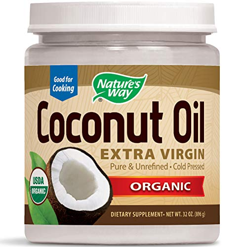 Nature's Way Organic Extra Virgin Coconut Oil Pure Cold-Pressed Organic Non-GMO 32 Ounce (Pack of 1) (Coconut Non Gmo Oil)