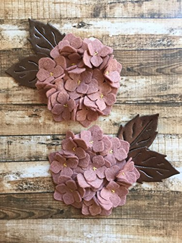 2 Wool Blend Felt Hydrangeas with Metallic Bronze Felt Leaves