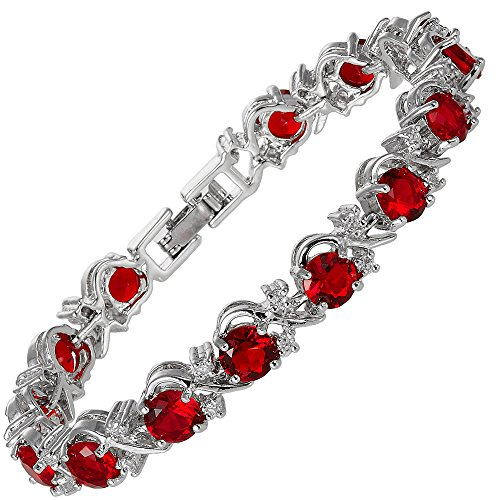 RIZILIA Round Simulated Red Ruby and White Cubic Zirconia 18K White Gold Plated Tennis Bracelet, 7