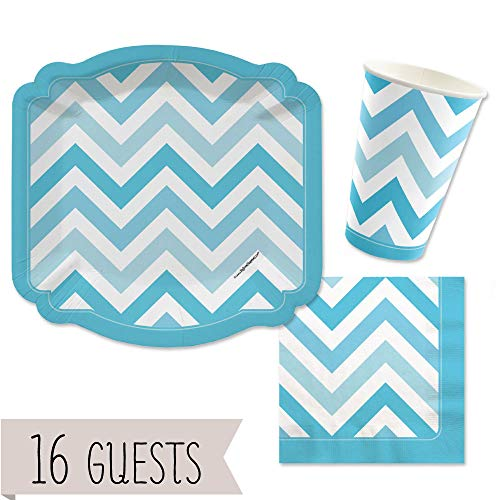 Big Dot of Happiness Chevron Blue - Party Tableware Plates, Cups, Napkins - Bundle for 16 -