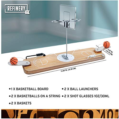 Vintage-Inspired Tabletop Hoops Perfect for Bar or Man Cave Refinery 2-Player Wooden Basketball Game Keep Score with Sliding Rings Drinking Game for Adults 2 Shot Glass Baskets for Extra Fun