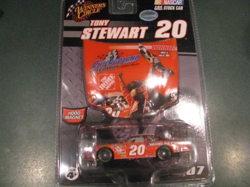 Tony Stewart Home Depot #20 Chicagoland Speedway Joliet, Illinois July 15, 2007 Raced Win Post Race Confetti 1/64 Scale Car Winners Circle With Bonus Victory Photo Replication Magnet Hood by - Stewart Tony Race