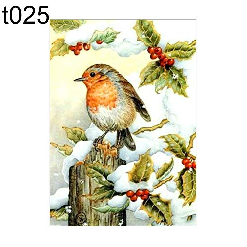 millet16zjh Full Round Diamond Painting with Christmas Bird Holly Horse Pattern for Cross Stitch DIY