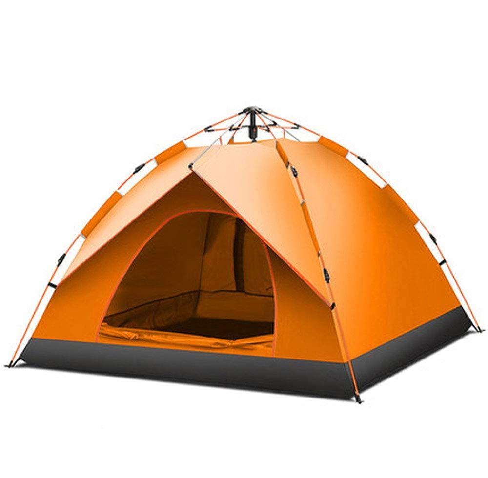 Orange Sofortige hydraulische Pop-up-Zelt 3-4 Personen Single Layer Zelt im Freien wasserdicht UV-Schutz 4-Jahreszeiten-Camping-Zelt Wandern PicnicTravel Zelt