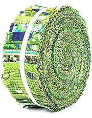 Soimoi 40Pcs Geometric & Texture Print Cotton Precut Fabrics For Quilting Craft Strips Jelly Roll - Green
