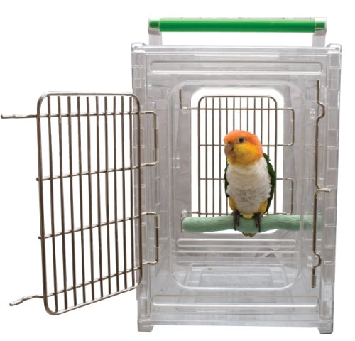 CaitecPerch & Go Polycarbonate Bird Carrier, Clear View Travel Cage ()