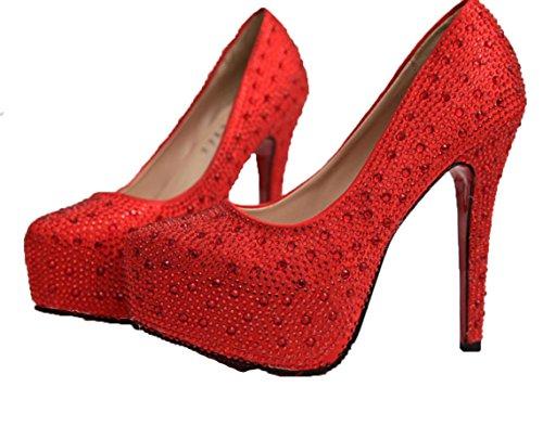 Scarpe da sposa YCMDM Red singoli pattini alti talloni di Strass impermeabili della piattaforma dei pattini , red , 35