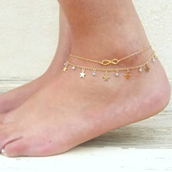 Gold Jovono Multilayered Star Tassles Anklets Beaded Crystal Anklet Bracelets Fashion Beach Foot Jewelry for Women and Girls