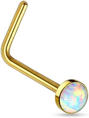 Piercing nez tige droite opale blanche