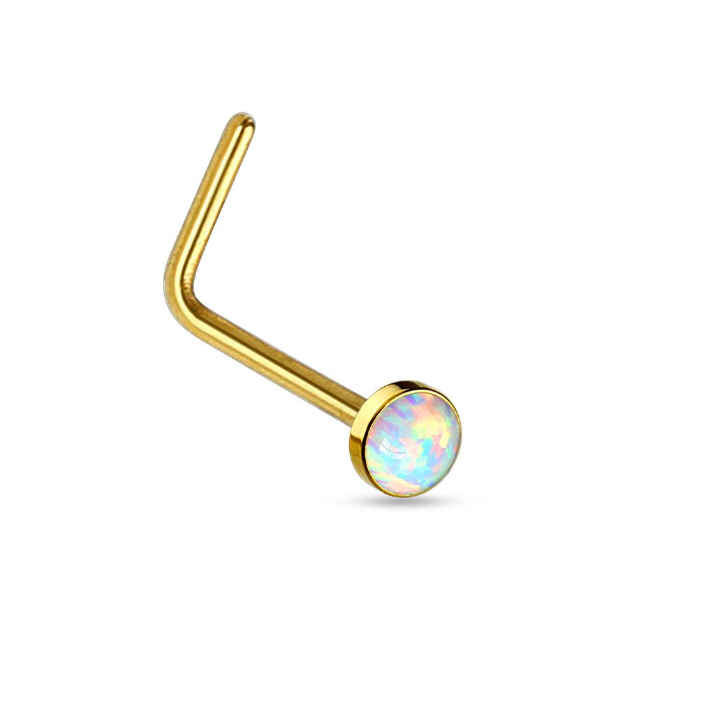(2 Pieces) L Bend Nose Stud Ring Opal Set Flat Top 316L Surgical Steel 20g (0.8mm) Blue Opal) Themadhatter