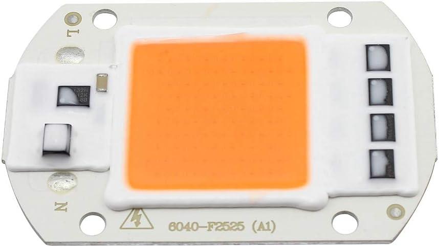 50W 220V Full Spectrum LED Chip, Plant Grow Light COB Emisor Diodo Componentes 50 W Bead, Driver Free para Invernaderos de interior Plantas Vegetales Flores Crecimiento, 1 paquete