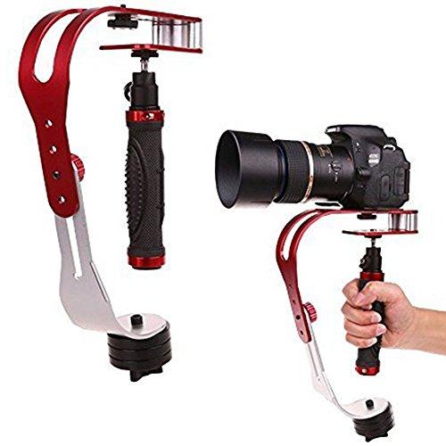 AFUNTA Pro Handheld-Kamera-Stabilisierungs-Steady, Perfekt für GoPro, Kanone, Nikon oder einer DSLR-Kamera bis zu 0,95 KG Mit reibungslosen Pro Dauer Glide Cam - Rot + Silber + Schwarz