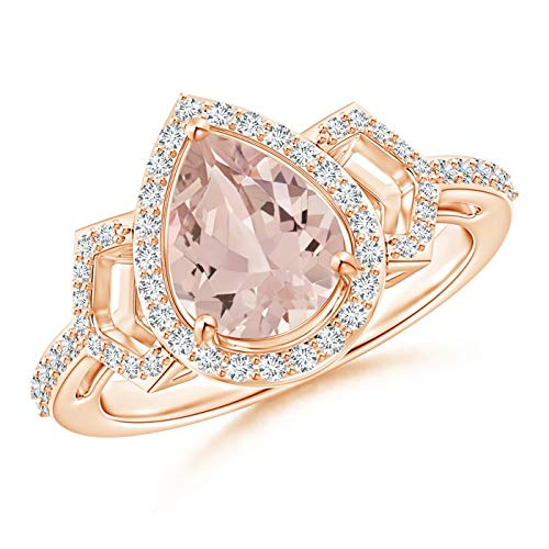 - Pear Shaped Morganite and Diamond Buckle Ring in 14K Rose Gold (9x7mm Morganite)