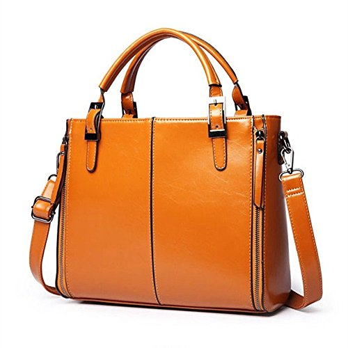 Gwqgz Nuevo Aceite Lady's Wax Leather Bolsa De Hombro Simple Y Generoso Bolso. Gwqgz New Oil Wax Leather Lady's Bag Shoulder Bag Simple And Generous. Gules Brown Gules Brown