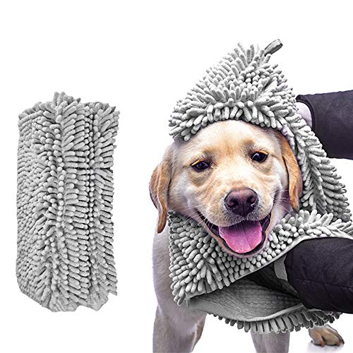 laamei Chenille Dog Bath Towel, Ultra Absorbent Microfiber Pet Towel with Hand Pockets, Durable, Quick Drying, Washable, Prevent Mud Dirt for Small to Large Dogs Cats Pets Small Grey