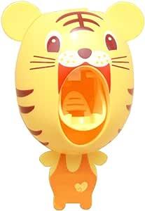 BigNoseDeer Bebé dispensadores de Cepillo de Dientes, los niños Manos Libres dispensador de Dientes niños Dibujos Animados automático Linda Animal dentífricos exprimidor Buen Regalo (Tigre)