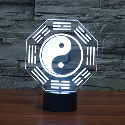 Comics+3D+Night+Lamp+ Products : Eight Diagrams Acrylic 3D Led Night Light Table Lamp Usb 7-Color Touch Switch