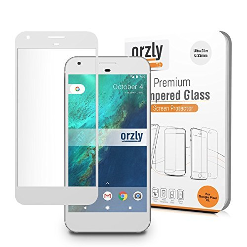 Google Pixel XL Screen Protector, Orzly 2.5D Pro-Fit Tempered Glass Screen Protector for Google Pixel XL (5.5 inch model - 2016) - Transparent with CHALK WHITE Rim