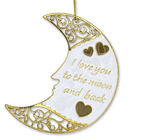 BANBERRY DESIGNS Moon Ornament - I Love You to The Moon and Back Gold Christmas Ornament - Love Ornament