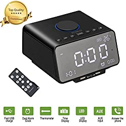 Alarm Clock Radio,BUKELERN Digital Alarm with Bluetooth Speaker Remote Control,Dual Alarm,Fast USB Charge Port,Battery Backup,Sleep & Snooze Function
