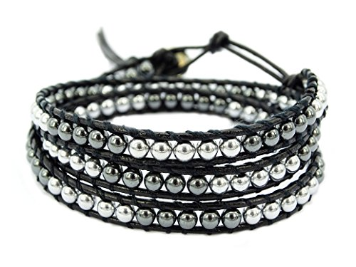jennysun2010 Handmade Natural 4mm Smooth Hematite Black and Silver Gemstones Beads Three Wrap Leather Push Button Closure Bracelet Healing (Trible Wrap: 19.5'' Adjustable to 22'') (Three Button Wrap)