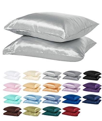 Polyester Satin Pillowcase - DreamHome Satin Standard/Queen Pillowcase, Silver, Pair