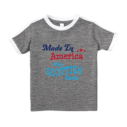 Made In America With Scottish Parts #2 Cotton Short Sleeve Crewneck Unisex Toddler T-Shirt Soccer Tee - Oxford Gray, 3T