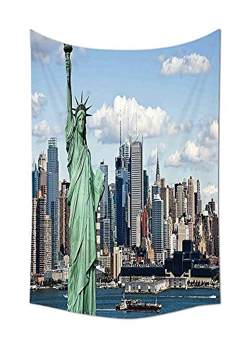 ajnxcid New York Tapestry Decor Statue of Liberty in NYC Harbor Urban City Print Famous Cultural Landmark Picture Wall Hanging for Bedroom Living Room Dorm Mint Blue