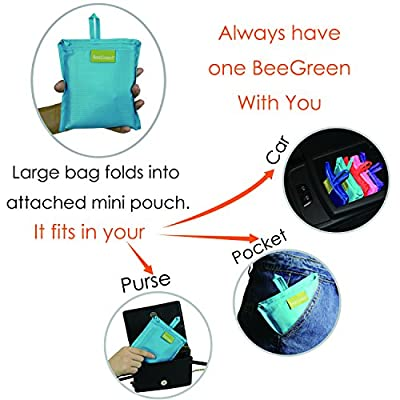 BeeGreen Reusable Grocery Bags Set of 5, Grocery Tote Foldable into Attached Pouch, Ripstop Polyester Reusable Shopping Bags, Washable, Durable and Lightweight