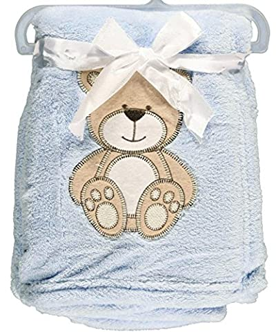 "Snugly Baby ""Teddy Bear Dream"" Plush Blanket (Blue) - Blue Plush Bear"