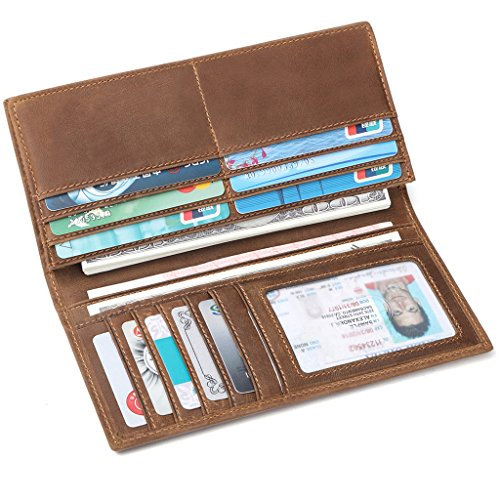 JEEBURYEE Men's Vintage Genuine Leather Long Bifold Wallet RFID Blocking Credit Card Holder Checkbook Wallet Brown