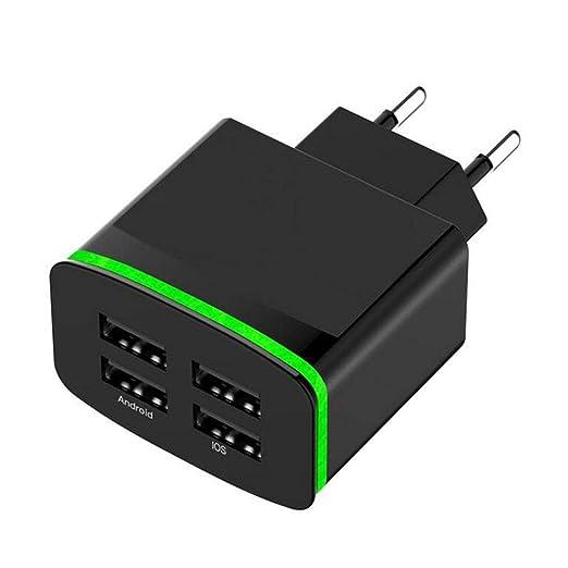 Busirde Enchufe de la UE de 4 Puertos USB LED Luz de la ...