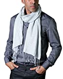 Anika Dali Men's Classic Black Dash Scarf with Tassels, Off White Base Color