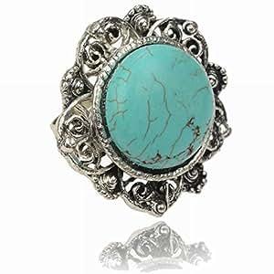 Adjustable Vintage Tibet Silver Plated Natural Turquoise Round Flower Finger Ring
