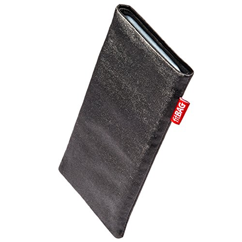 fitBAG Techno Black Custom Tailored Sleeve for Nokia 6500 Slide. Fine Suit Fabric Pouch with Integrated Microfibre Lining for Display ()