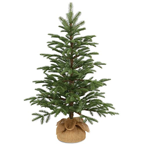 National Tree 3 Foot Feel Real PE Norwegian Seedling Tree in Burlap - Living Decorations Christmas Real