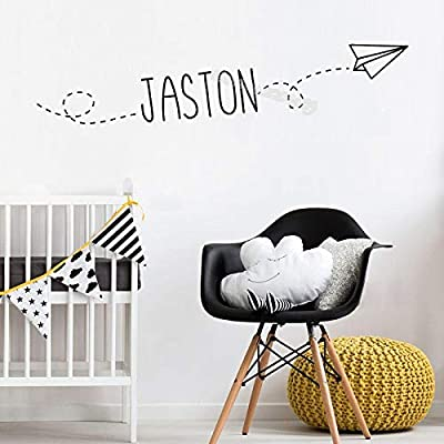 SI84ZKL Flying Paper Airplane Wall Sticker Personalized Custom Name Decal Decor Home Child\'s Bedroom Nursery Baby Playroom Mural EB471H633 yellow-20cm Tall: Kitchen & Dining [5Bkhe2007220]