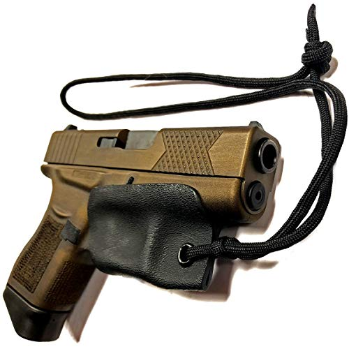 Glock 42 43 x 48 Holster Kydex Trigger Guard Black Pistol Lanyard Rip-Away Pocket IWB