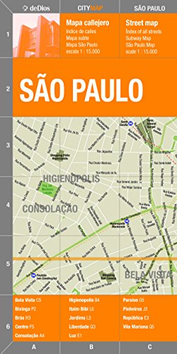 Sao Paulo (City Center) Map by deDios (City Map) (Spanish and English Edition)