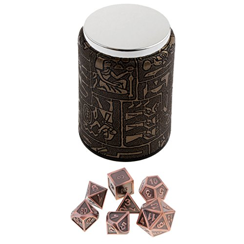 Homyl 7PCS Metal Polyhedral Dice D4-D20 for Dungeons and Dragons Board Game Accessories &Dice Cup #9 by Homyl