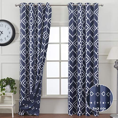 Curtain Geometric - JC JACK&CATHERINE Moroccan Print Blackout Curtains Reversible Thermal Insulated Geometric Design Curtain for Bedroom, Navy, 52 x 84 inch, 2 Panels