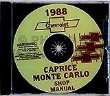COMPLETE & UNABRIDGED 1988 CHEVROLET MONTE CARLO & CAPRICE FACTORY REPAIR SHOP & SERVICE MANUAL & BODY REPAIR MANUAL CD